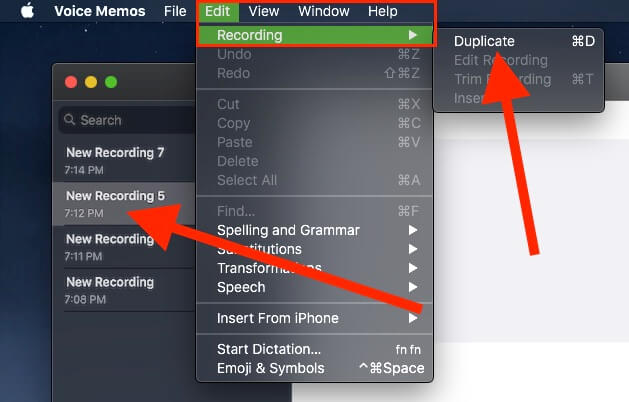 1 Duplicate Voice Memo on Mac