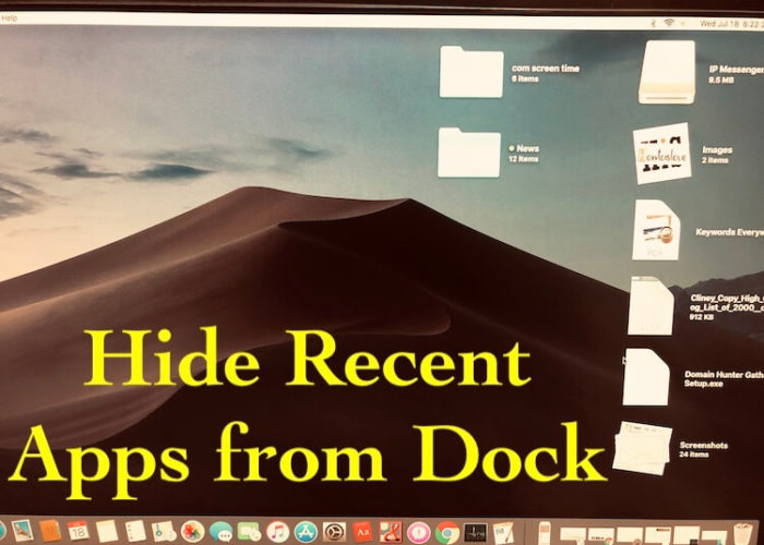 1 Hide Recent apps from dock on MacOS Mojave