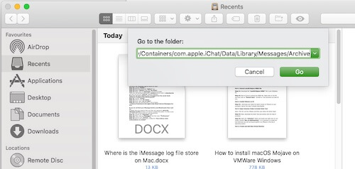 5 Enter iMessage log file location on Mac