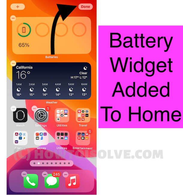 Battery Widget Added to iphone home screen