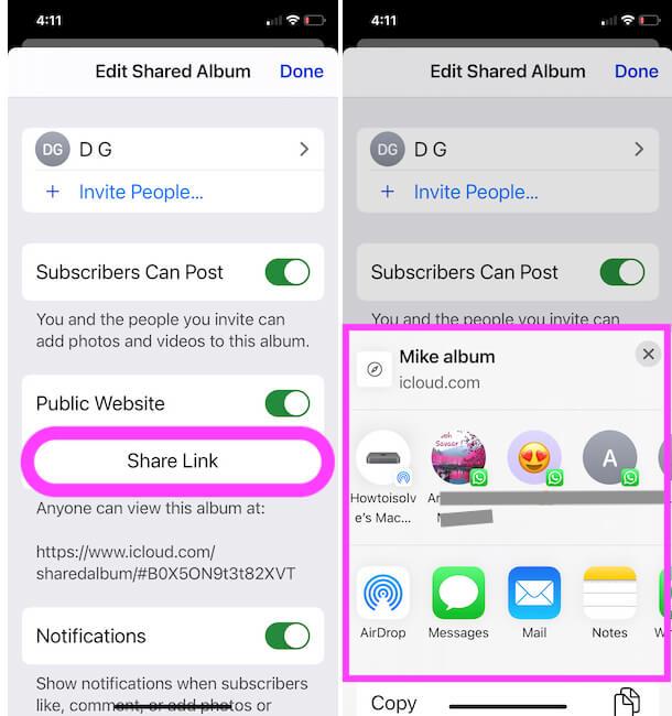 Create Public Shared Album Link on iPhone Photos app