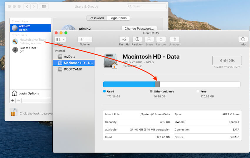 Delete Account on Mac to Free Other Volumes on Mac Disk Utility
