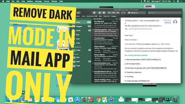 1 Remove Dark mode from Mac Mail app only
