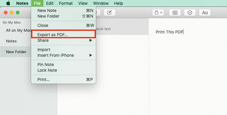 Export Notes in to PDF on Mac OS (1)