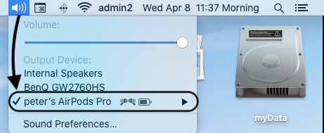 Select External Audio Device from top Mac Menu