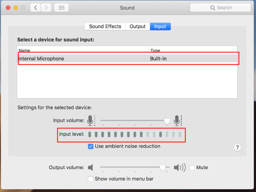 Test input level of internal Microphone on Apple Mac