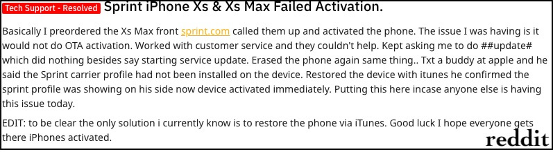 1 Could not Activate New iPhone XS Max
