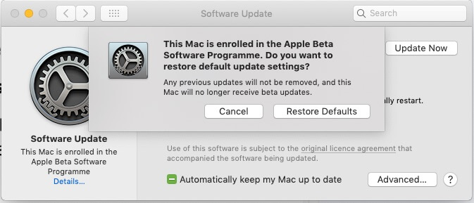 2 Restore Default On MaOS Mojave from Beta
