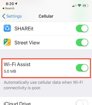Enable WiFi Assist on iPhone XS Max
