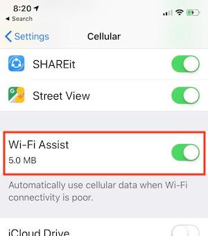 Включение WiFi Assist на iPhone XS Max