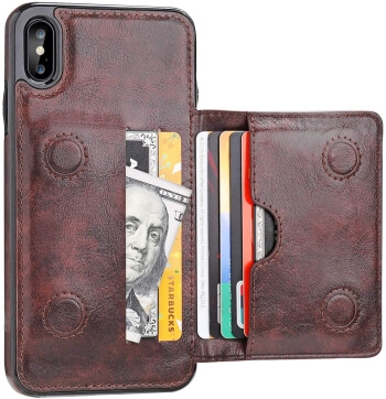 KIHUWEY Brown Leather Case for iPhone XS Max