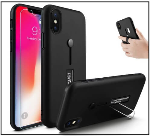 Owrora Finger-Strap Case for iPhone XS Max with kickstand