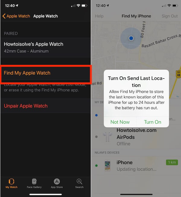 1 Turn on Find my Watch on my Watch app for Apple Watch