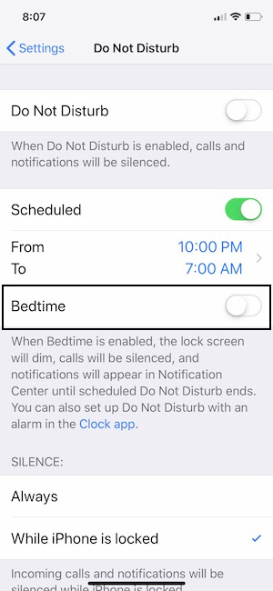4 Disable Badtime in Do not Disturb on iPhone XS Max