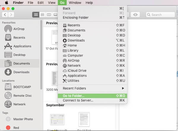 Go to Folder option in Finder menu on Mac