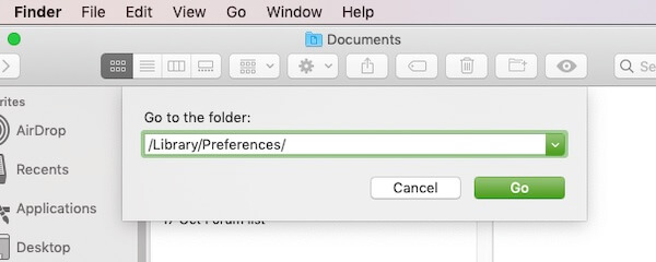 Preferences Option in Finder on Mac