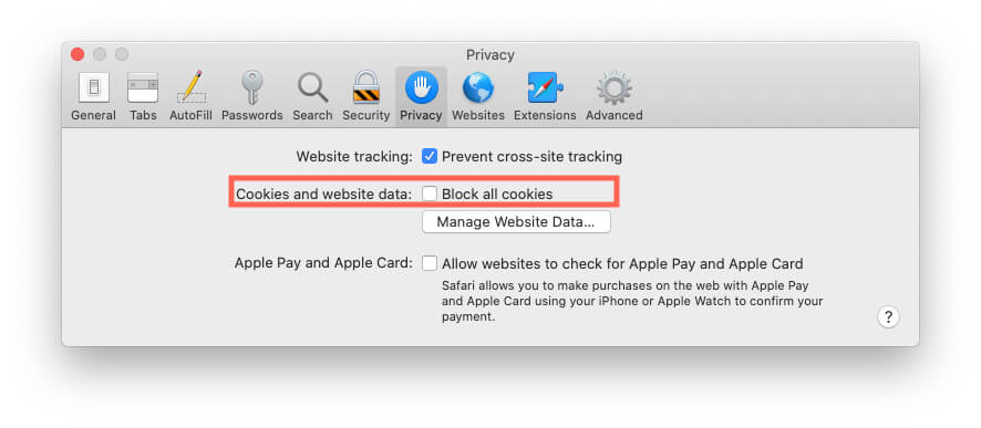 Remove Website Data and Cookie from Safari Mac