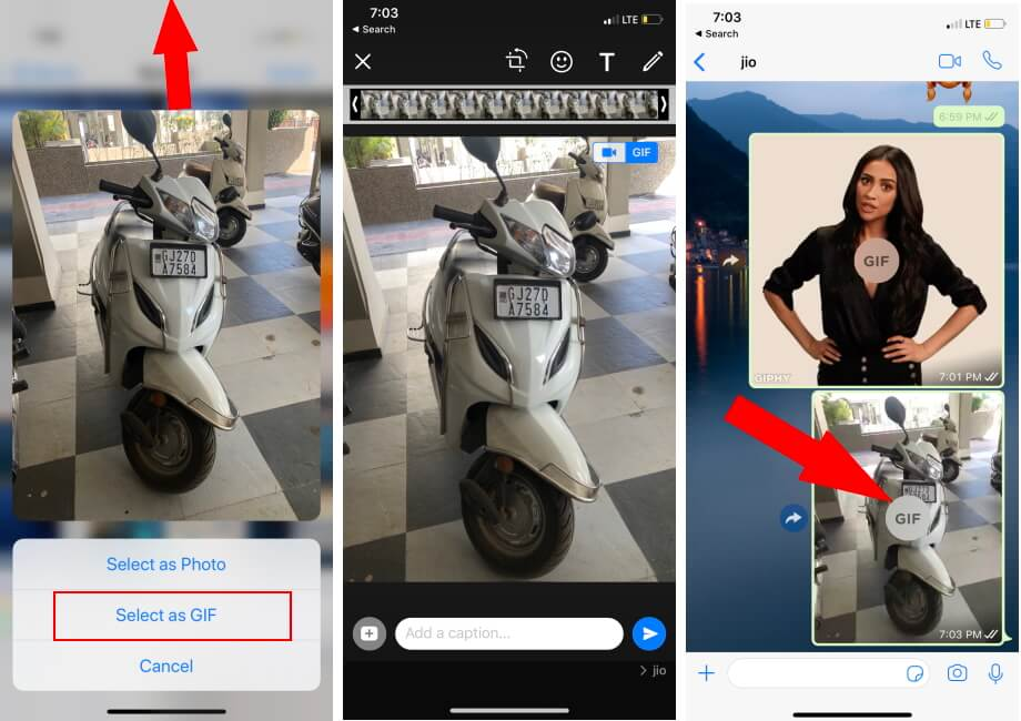 Send live Photo as a GIF on WhatsApp iPhone app