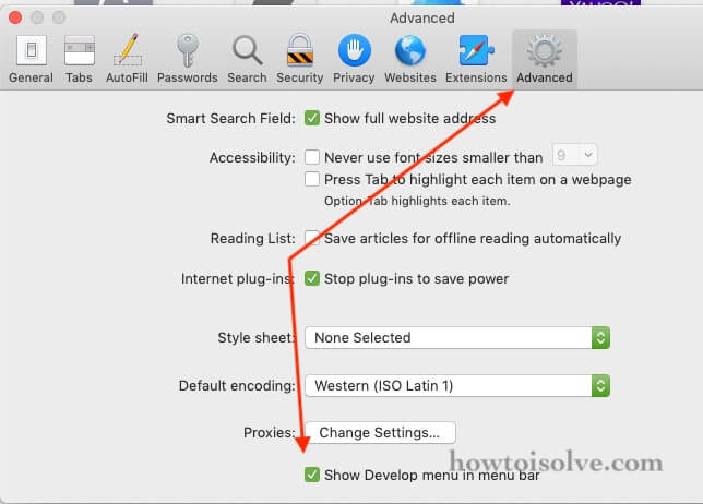 enable Develop option on safari menu on Mac