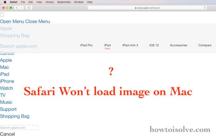 safari on mac not showing image