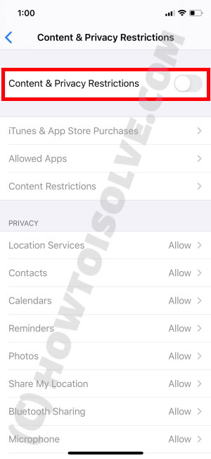 Disable Content & Privacy Restrictions on iPhone