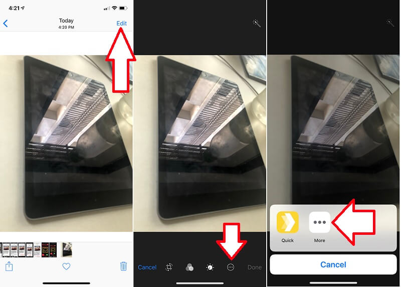 Find more option in Photo Edit to Enable Markup on iPhone