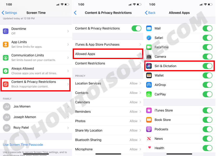 Turn OFF Screen Time for Siri & Dictation