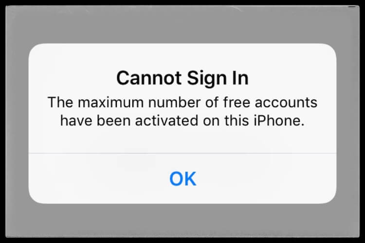 cannot sign in Showing Maximum number of free accounts have been activated on iPhone
