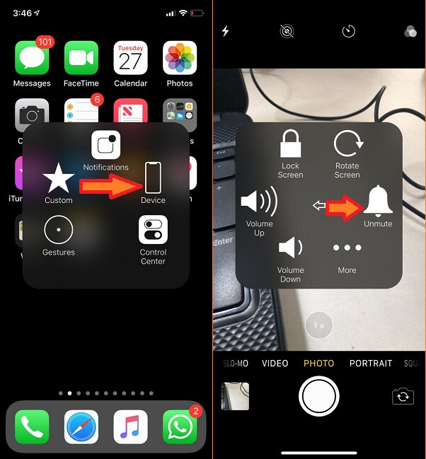 mute camera shutter sound on iPhone using Assistive Touch