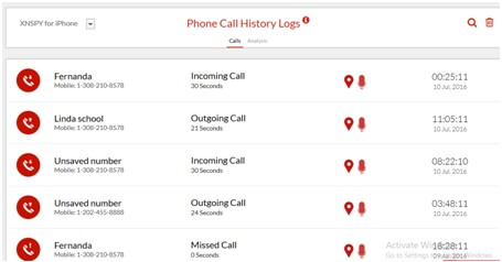 XNSpy Phone log history
