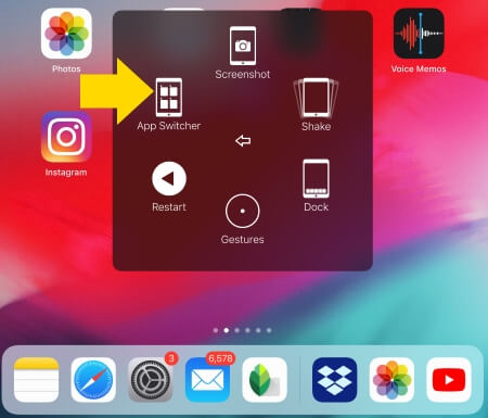 App Switcher on iPad to view recently opened apps