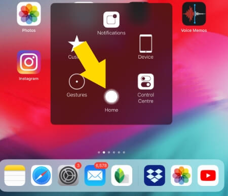 Double Tap on home button on iPad
