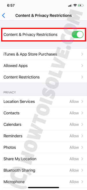Enable Content & Privacy Restrictions
