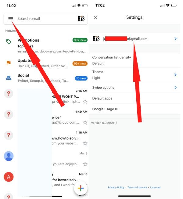 Откройте приложение Gmail и выберите свою учетную запись Gmail.