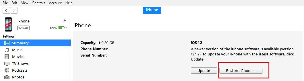 нажмите «Восстановить iPhone» и перейдите к загрузке программного обеспечения в iTunes.