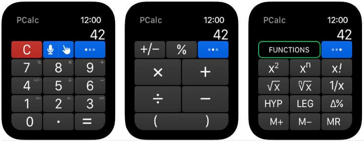 pccalc Apple Watch Calculator app for maths