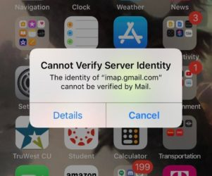 what to do mail app Cannot verify server identity error on iPhone XS max XS XR X troublshooting