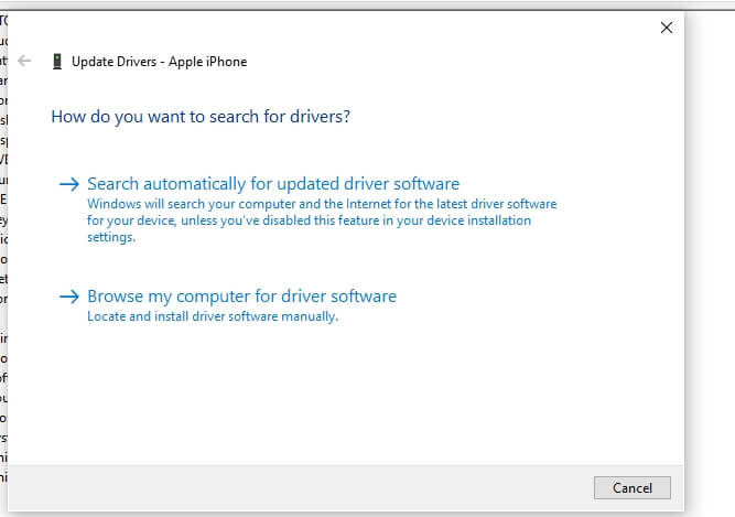 Search iPhone Drive on Windows 10