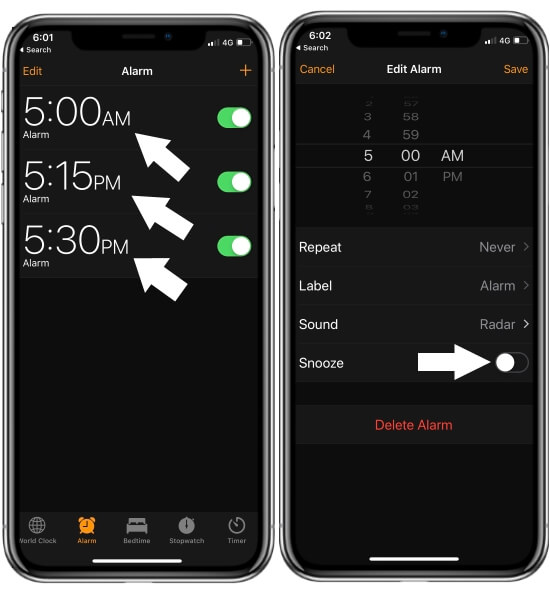 Set Different Alarm on iPhone Clock App for ring on snooze time