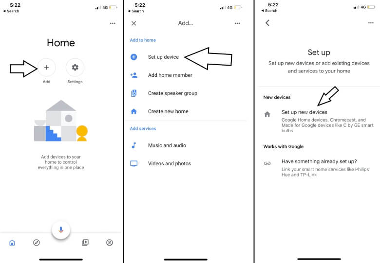 add new device in google home and access from iPhone