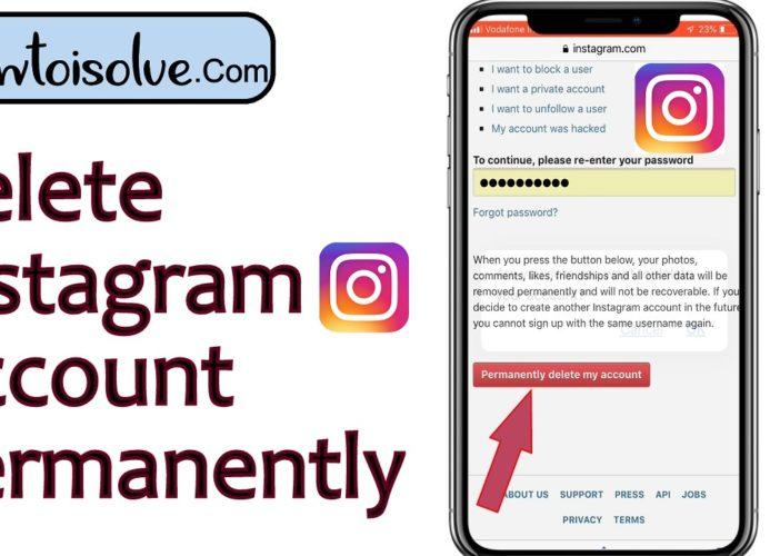 delete instagram account permanently 2019