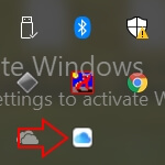icloud icon in status bar in windows 10
