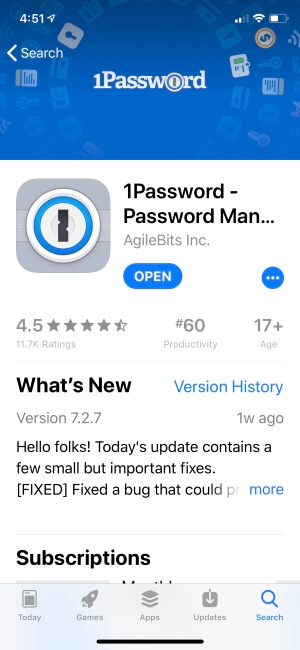 1password manager app