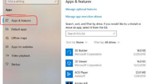 Apps and Features option in Windows 10 settings