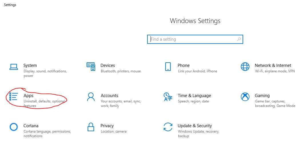 Apps on Windows Settings option