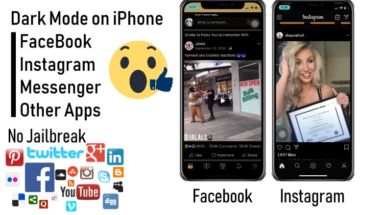 Dark mode on iPhone for Facebook instagram social app