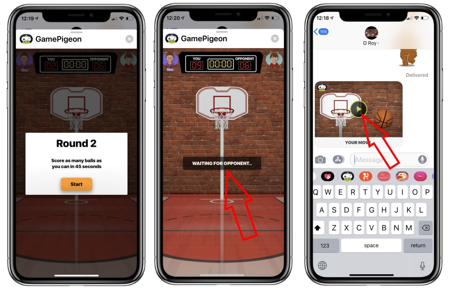 Send turn request and shoot guide for play Basket ball on iPhone in Messages app