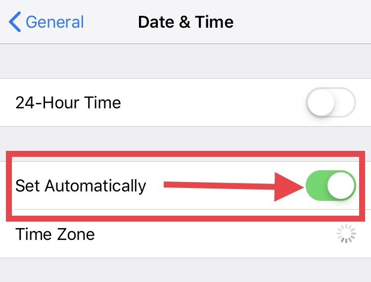 Set Automatically for date and time zone on iPhone