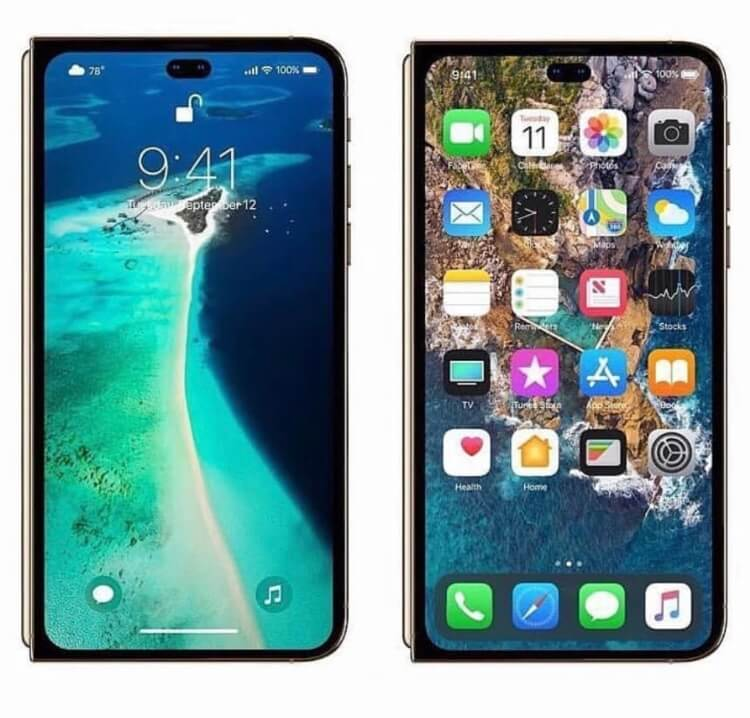 Foldable iPhone 2020 home screen and lock screen