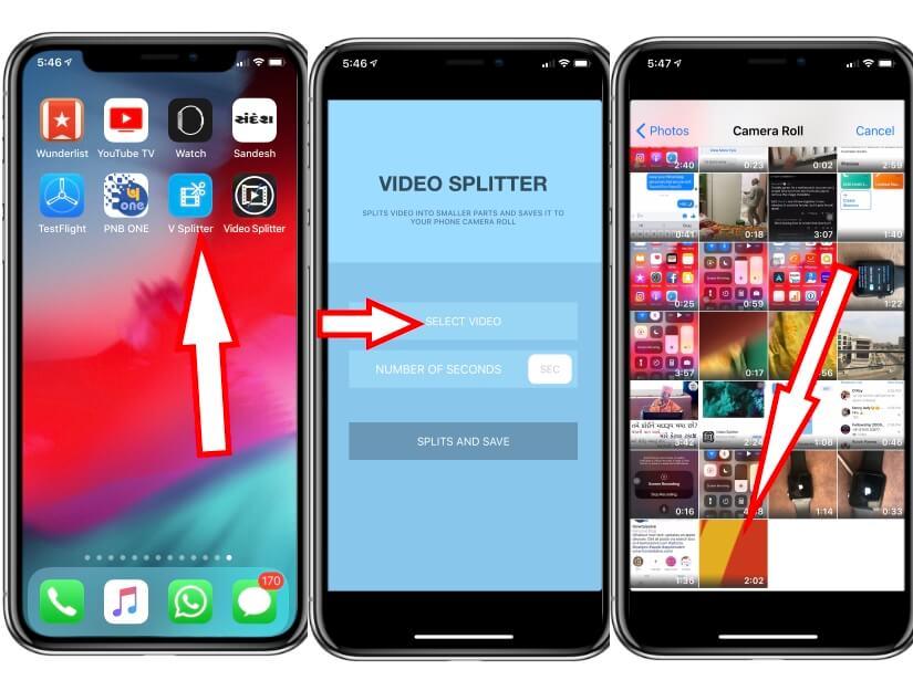 split video using app on iPhone using Video Splitter app